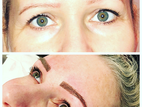 Covering up old uneven microblading with fresh hairstrokes and powder shaded brows! Results are smud
