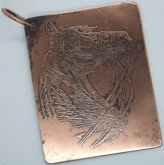 Etched Horse Head Copper Key Fob w/Ring