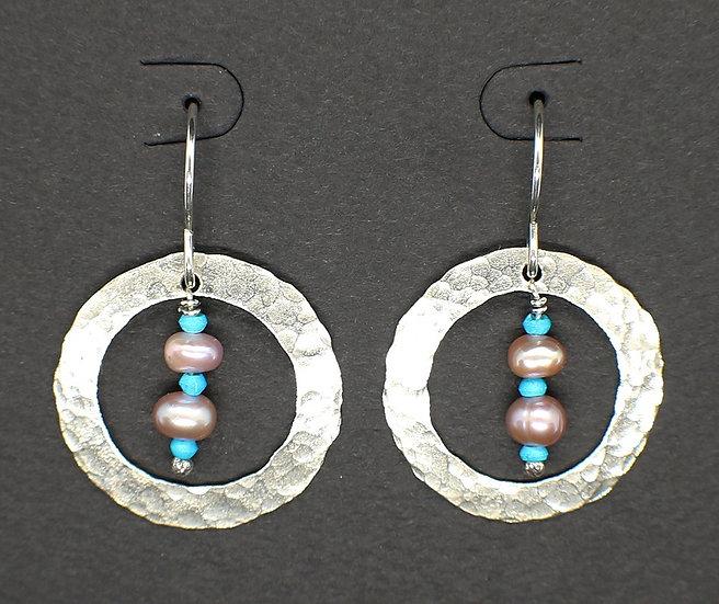 Sterling Silver Beaten Ring w/Pearls
