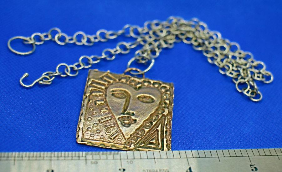 """Bronze """"Picasso"""" Pendant w/Silver Chain"""