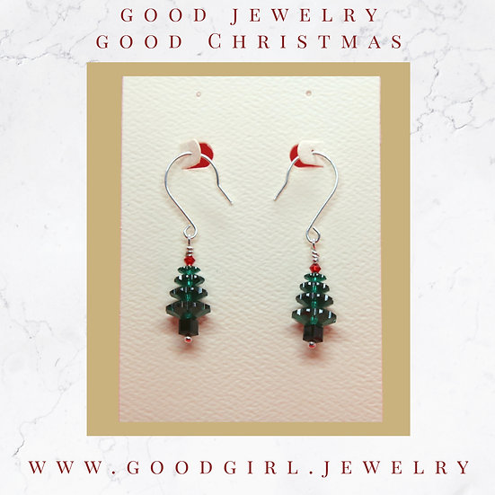 Swarovski Crystal Christmas-Tree Earrings