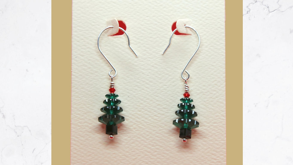 Swarovski Crystal Christmas-Tree Earrings