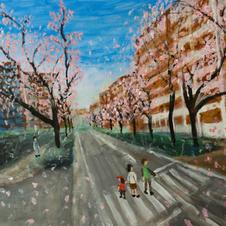2019.01 桜並木と親子