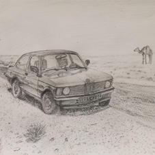 2020.05 鉛筆画_モロッコ1986 BMW318i