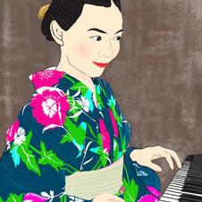 2019.10 写楽浮世絵風_浴衣でピアノ