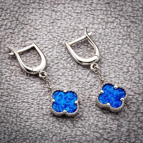 Aurora 9ct White Gold & Blue Opal Earrings