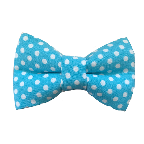 Blue With White Spots Bow Tie
