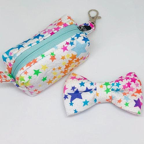 White Stars & Glitter Bow Tie