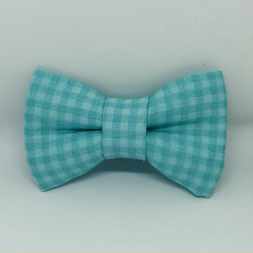 Aqua Checks Bow Tie