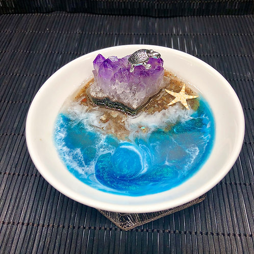 Turtle Island Beach and Amethyst Druzy Geode Trinket Dish