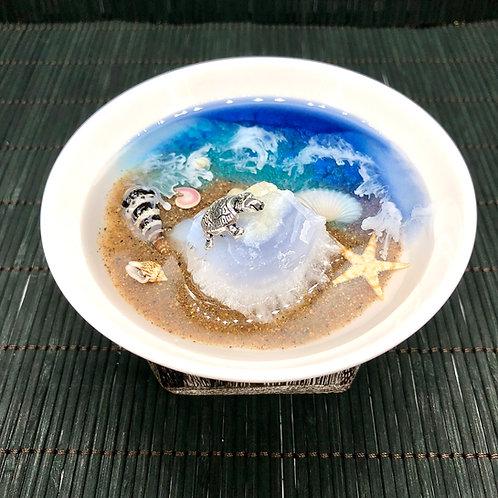 Turtle Island Beach and Blue Lace Agate Crystal Gemstone Trinket Dish