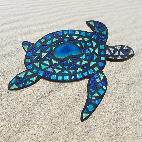 "Mosaic Glass Honu Sea Turtle & Agate Stone Slice - Large 12"" Inch"