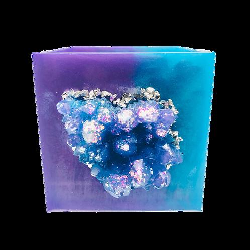 Turquoise & Lavender Crystal Geode Resin Planter Pot