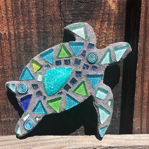 Mosaic Baby Honu Sea Turtle & Turquoise Cabochon