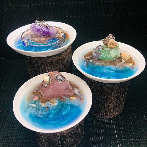 Create Your Own Turtle Island Beach Geode Gemstone Trinket Dish