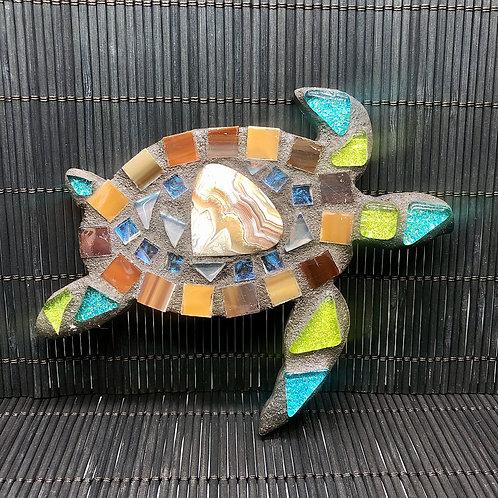 Mosaic Baby Honu Sea Turtle & Lace Agate Gemstone