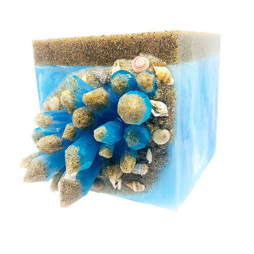 Ocean Beach Crystal Geode Resin Planter Pot