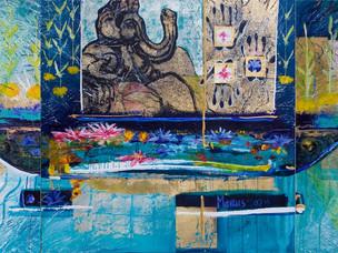 """""""Ganesha's Lagoon"""" Reception tripytch"""