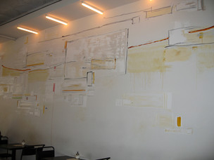 Plaster and acrylic paints mural