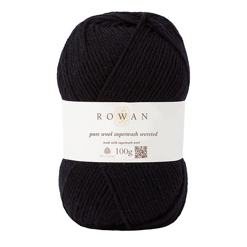 Pure Wool Superwash Worsted Black 109