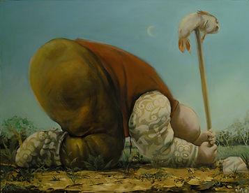 peinture, homme, poisson mort, campagne
