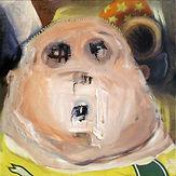 Supporter, portrait de hooligan, huile sur toile