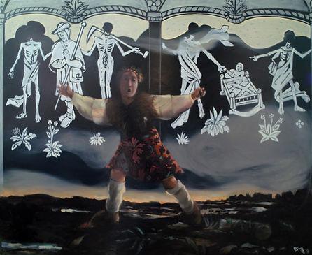 Femme apeurée courant en campagne, la nuit, danse macabre, peinture huile sur toile