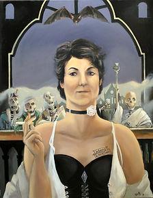 Portrait de Manuella devant ses clients, squelettes, peinture huile sur toile