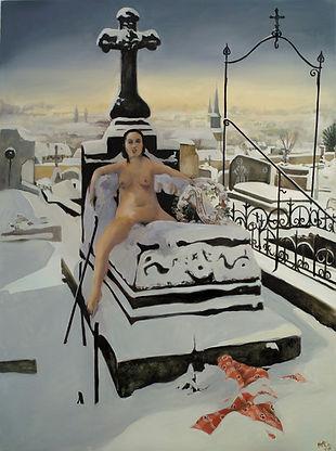 Femme nue sortant d'un tombeau enneigé, peinture huile sur toile