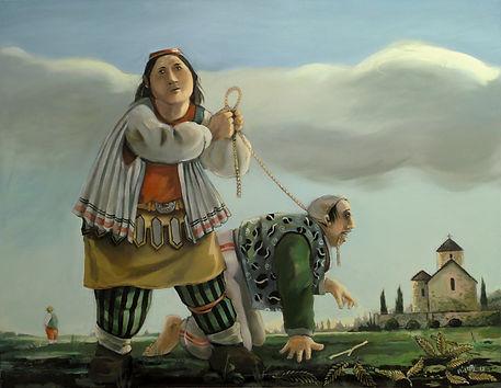 Peinture, huile sur toile, personnages style Europe Centrale, corde, paysage avec église