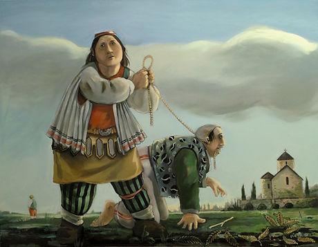 Deux hommes jouant dans paysage rural, peinture à l'huile