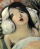Visage de femme endormie, portrait peinture huile, détail tableau