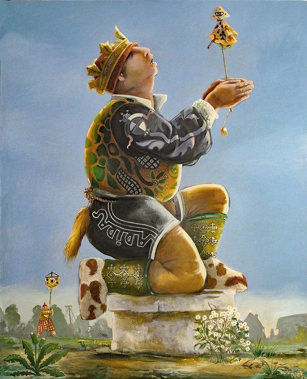 enfants jouant au roi, au fou, marotte, peinture huile