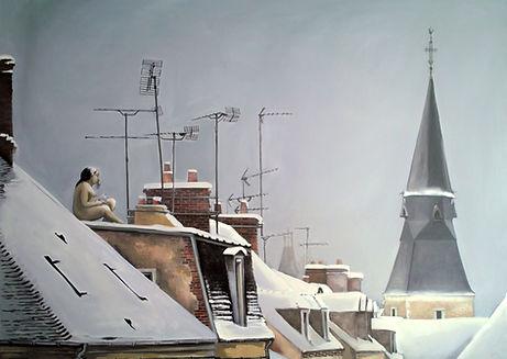 Femme nue mangeant pigeon à L'Aigle, peinture à l'huile