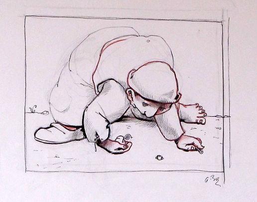 enfant ramassant des objets sur le sol, dessin, encres