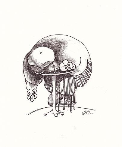 Buveur ivre endormi, dessin encre, noir et blanc