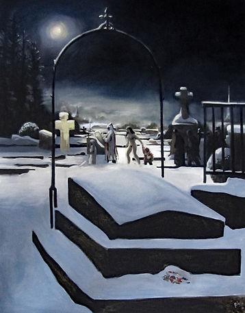 Procession nocturne dans un cimetière couvert de neige, peinture huile sur toile