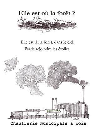 Chaufferie municipale au bois, dessin noir et blanc et texte