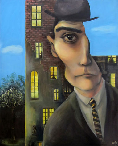 Peinture, portrait, Kafka, immeuble