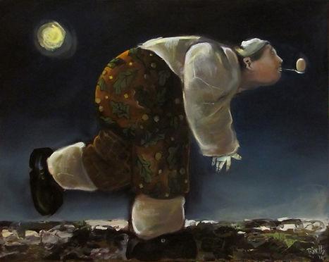 enfant jouant avec œuf, jeu nocturne, lune, peinture huile