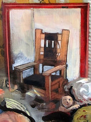 Peinture, chaise électrique, foule