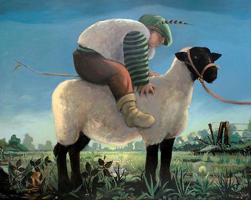 Peinture, enfant, mouton, campagne