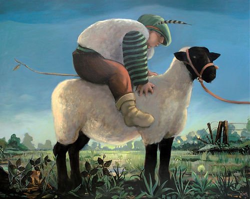 Enfant à cheval sur mouton race suffolk, peinture à l'huile