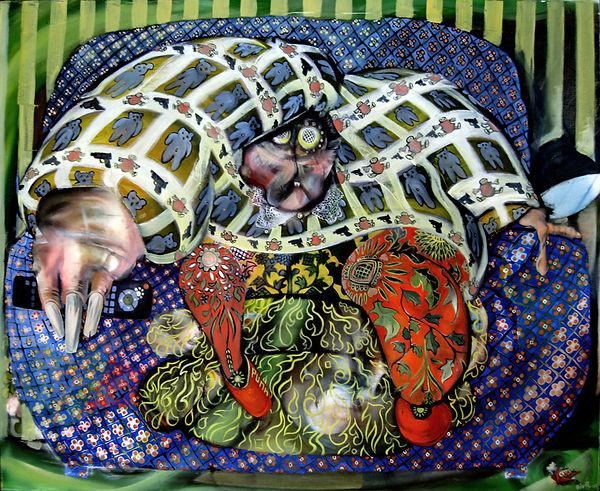 Téléspectateur dans canapé, peinture à l'huile, art cinétique