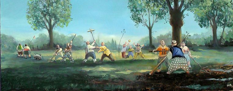 Peinture, campagne, enfants jouant, printemps
