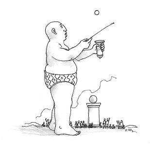 prestidigitateur, boules, dessin noir et blanc