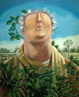 Michel Onfray, philosophe, portrait peinture à l'huile