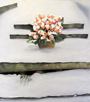 Tombe, cimetière, neige, bouquet fleurs, vampire
