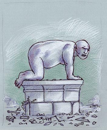 homme, quatre-pattes, socle, déchets, prédateur, dessin