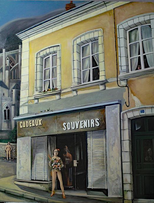 Femme nue devant maison jaune à la Chapelle Montligeon, peinture huile sur toile